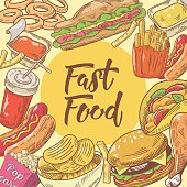 Fast Food Hand Drawn Design with Burger, Fries and Pop Corn. Unhealthy Eating. Vector illustration