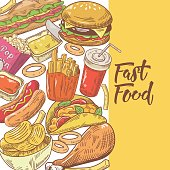 Fast Food Hand Drawn Design with Burger, Fries and Sandwich. Unhealthy Eating. Vector illustration