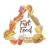 Fast Food Hand Drawn Design with Burger, Fries and Soda. Unhealthy Eating. Vector illustration