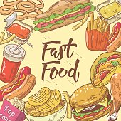 Fast Food Hand Drawn Design with Burger, Hot Dog and Drink. Unhealthy Eating. Vector illustration