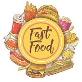 Fast Food Hand Drawn Design with Sandwich, Burger, Fries and Drink. Unhealthy Eating. Vector illustration