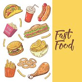 Fast Food Hand Drawn Doodle with Burger, Fries and Pop Corn. Unhealthy Eating. Vector illustration