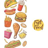 Fast Food Hand Drawn Menu Design with Burger, Fries and Sandwich. Unhealthy Eating. Vector illustration