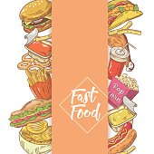 Fast Food Hand Drawn Menu Design with Sandwich, Fries and Burger. Unhealthy Eating. Vector illustration