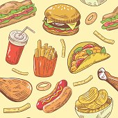 Fast Food Hand Drawn Seamless Pattern with Burger, Chicken and Fries. Vector background