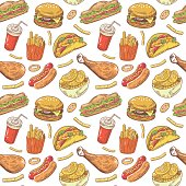 Fast Food Hand Drawn Seamless Pattern with Burger, Drink and Fries. Vector background