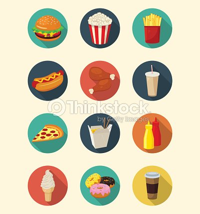 Fast Food Icons Set Modern Flat Design Healthy Eating