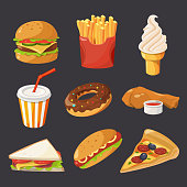 Fast food illustration in cartoon style. Pictures of burger, cold drinks, tacos and hotdog. Hamburger and hot dog, fastfood and drink lunch vector