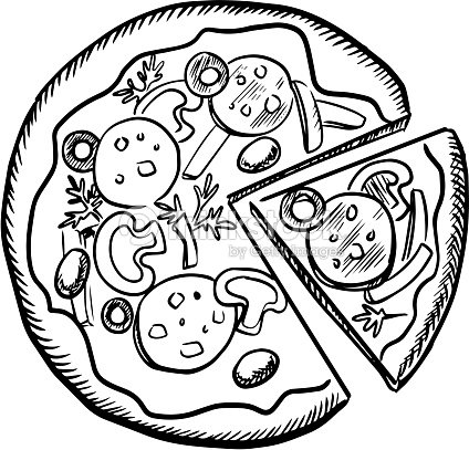 Fast Food Pizza With Salami And Vegetables stock vector