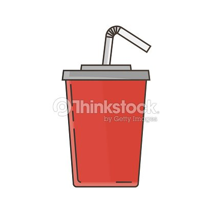 Fast food red cup cola drink vector illustration