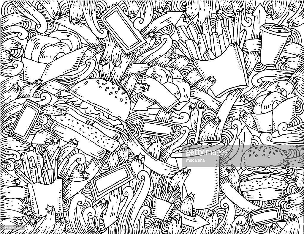Fondo Para Comida Rapida: Fast Food Themed Doodle Background Vector Art