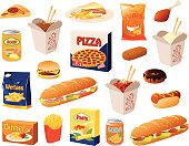 Vector illustration of various kinds of fast food.