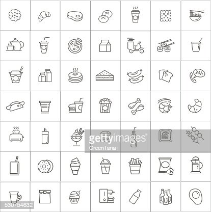Fast food vector outline icons set. Cooking : stock vector