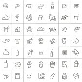 Fast food vector outline icons set. Cooking