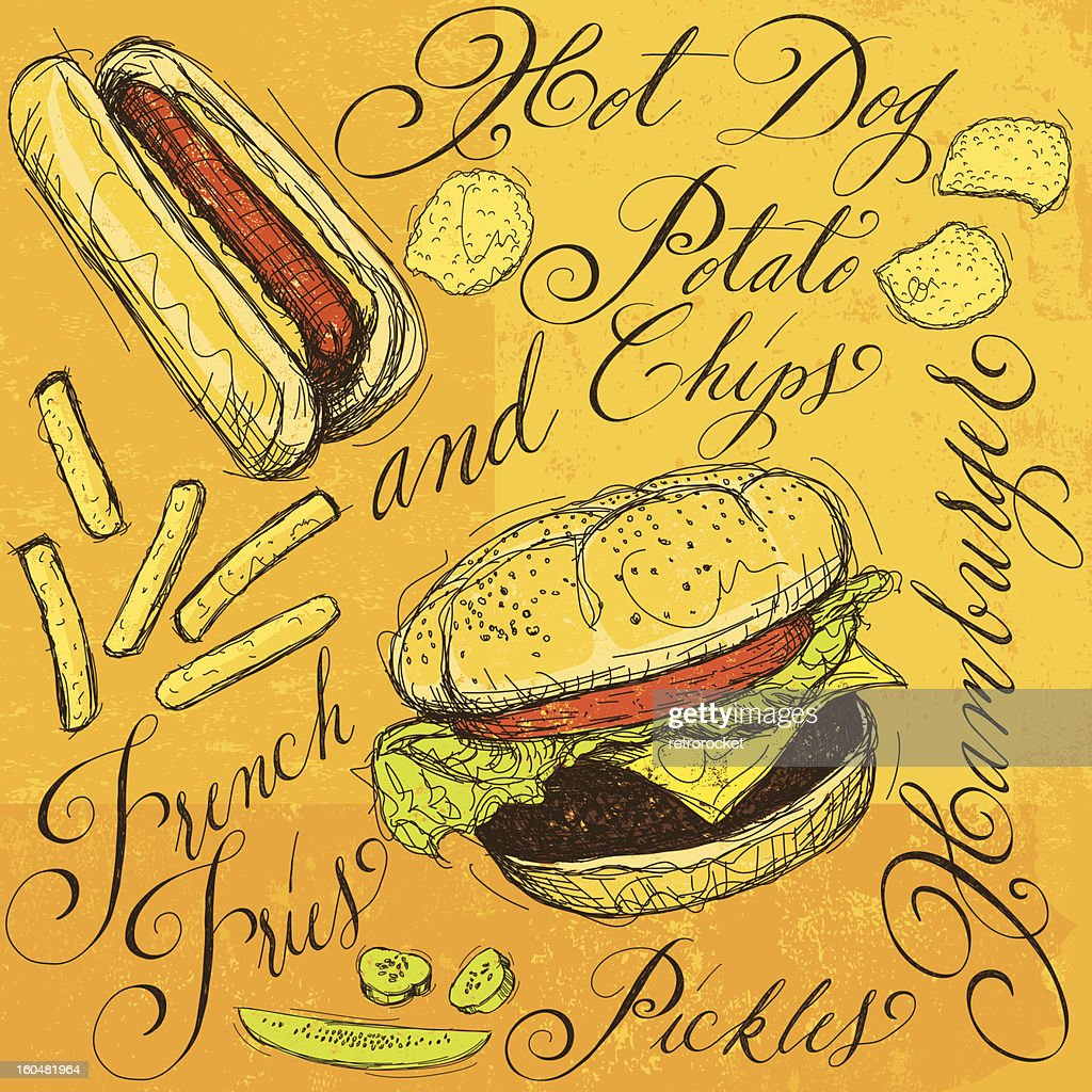 Fast food with calligraphy : Vector Art