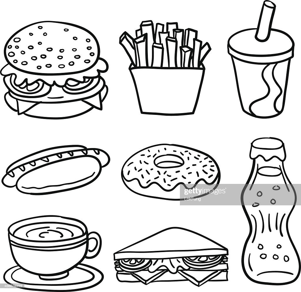 Junk food coloring pages - Fastfood Collection In Black And White Vector Art Getty