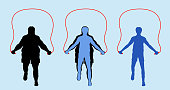Fat and Slim Man Silhouette Exercising with Jumping Rope. All the objects are in different layers.