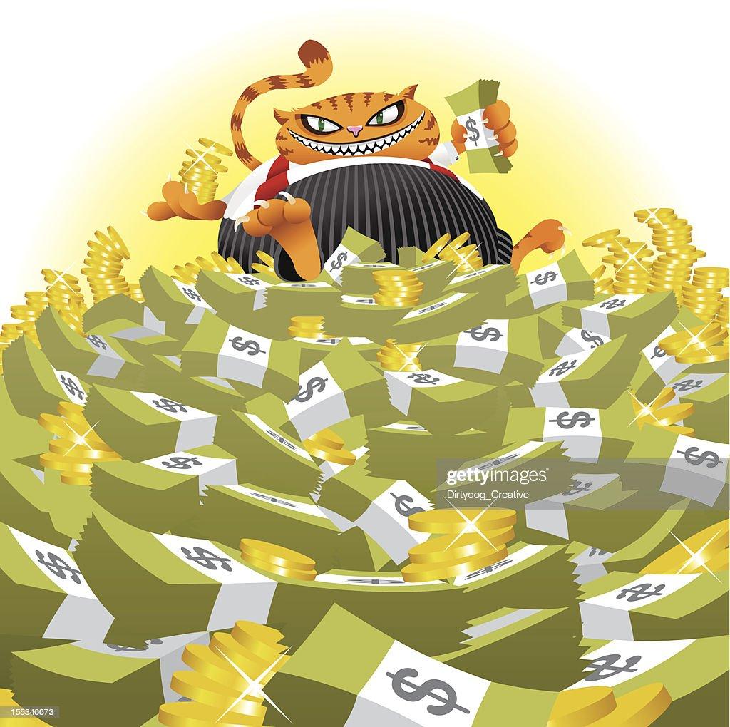 Fat Cat on Money Pile : Vector Art