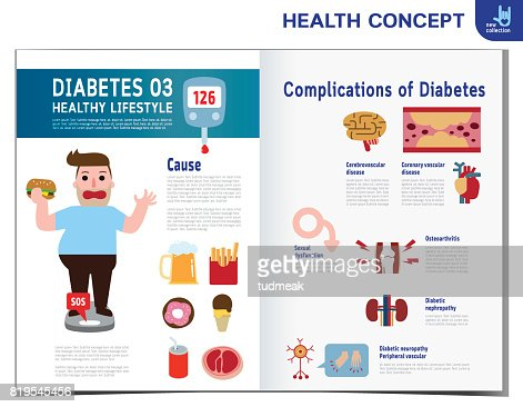 Fat Man With Diabetes Diabetic Infographics Elements Medical