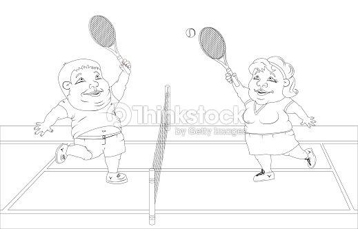 Personas Gordas Jugando Al Tenis En La Cancha Foto Blanco Y Negro ...