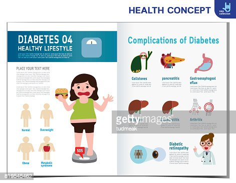 Fat Woman With Diabetes Diabetic Infographics Elements Medical