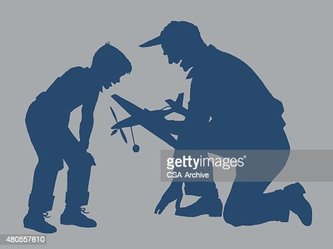 Father and Son With Toy Plane : Vector Art