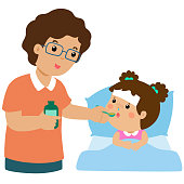 Father giving daughter medicine vector illustration.