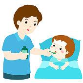 Father giving son medicine vector illustration