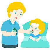 Father giving son medicine vector illustration.