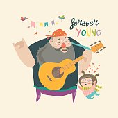 Father playing guitar music to his daughter, loving dad and kid spending time together. Vector Illustration