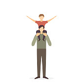 Happy family with father and child on shoulders, illustration.