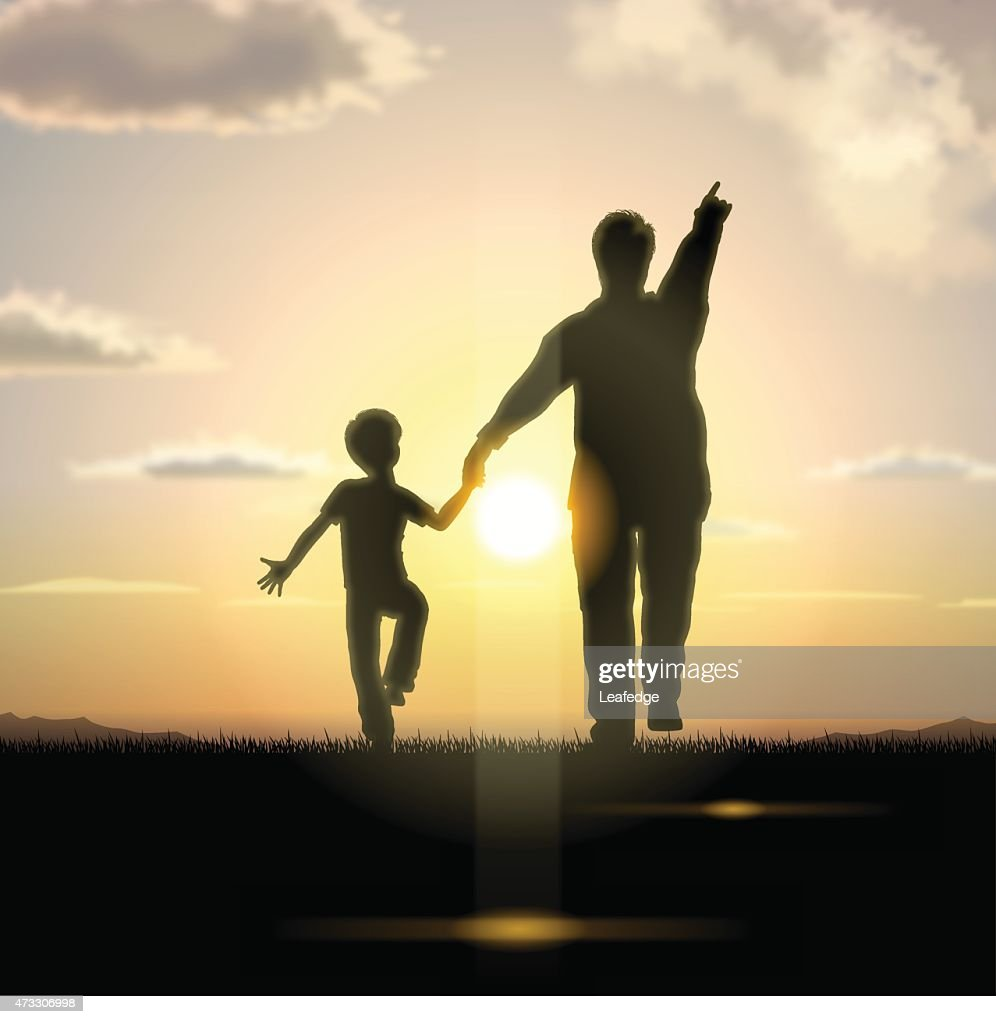 Father's Day background[Father and child in the sunset] : Vector Art