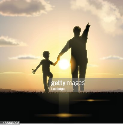 Father's Day background[Father and child in the sunset] : Vektorgrafik