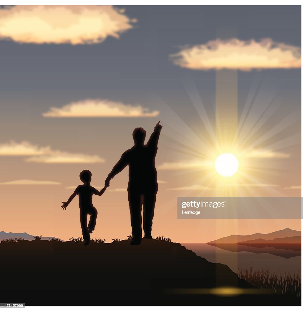 Father's Day background[Father and child in the sunset] : Vectorkunst