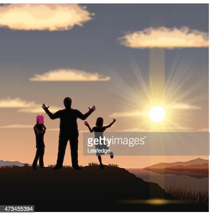 Father's Day background[Father and children in the sunset] : Vector Art