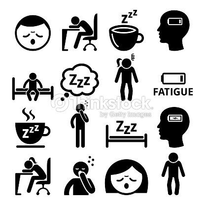 Fatigue icons, tired, sleepy man and woman vector design : stock vector