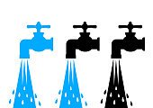 Faucet vector icons on white background