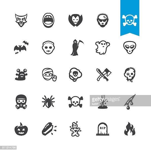 Fear and horror vector characters