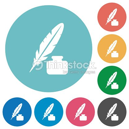 Feather And Ink Bottle Flat Round Icons Vector Art | Thinkstock