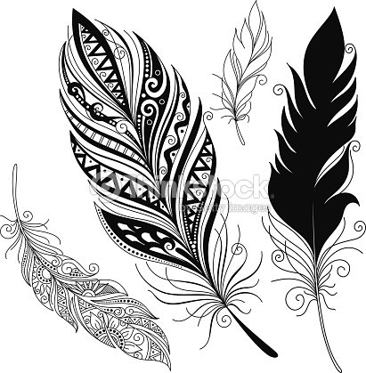 A Feather Pattern In Black And White Designs Vector Art