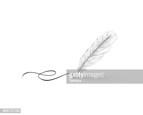 Feather pen icon. Calligraphy sign. : stock vector