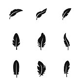 Feather vector icons. Simple illustration set of 9 Feather elements, editable icons, can be used in symbol, UI and web design