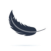 Feather Vector Silhouette Icon or Logo. Abstract black carnival fluff flying. Soft or smooth concept with a quill illustration isolated on white. Wing part for ink pen symbol.