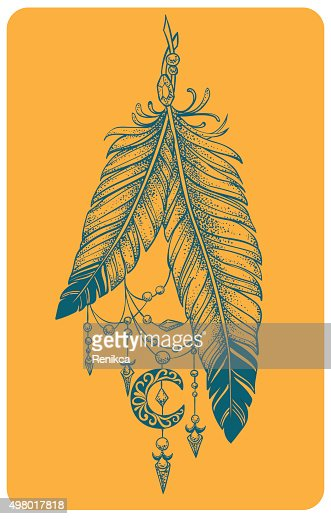 Feathers with pendants and crescent moon in a graphic style : Vector Art