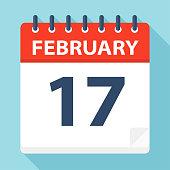 February 17 - Calendar Icon - Vector Illustration