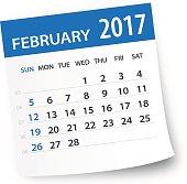 February 2017 calendar leaf - Illustration