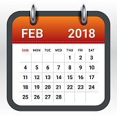 February 2018 calendar vector illustration, simple and clean design.