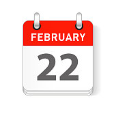 February 22 date visible on a page a day organizer calendar