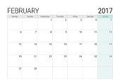 2017 February calendar (or desk planner), week start on Monday
