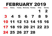 2019 calendar February month. Vector printable calendar. Monthly scheduler. Week starts on Sunday. English calendar